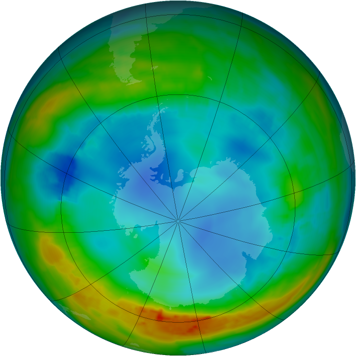 Antarctic ozone map for 03 August 2014