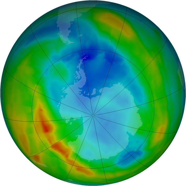 Antarctic ozone map for 08 August 2014