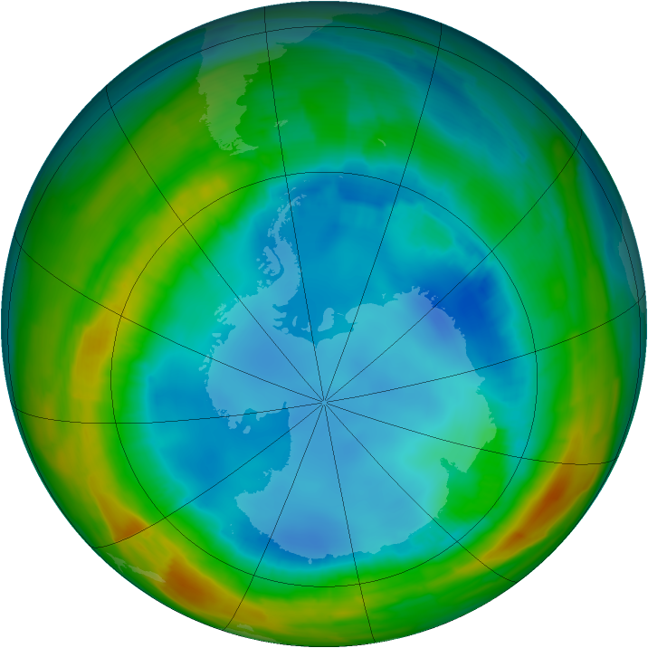 Antarctic ozone map for 11 August 2014