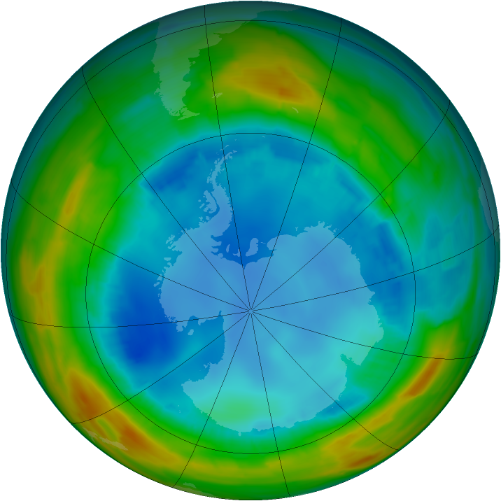 Antarctic ozone map for 13 August 2014