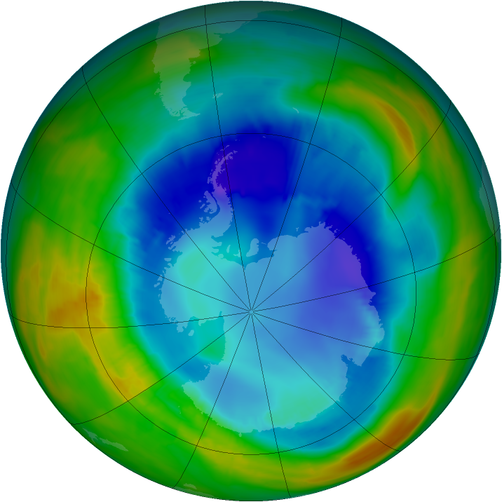 Antarctic ozone map for 24 August 2014