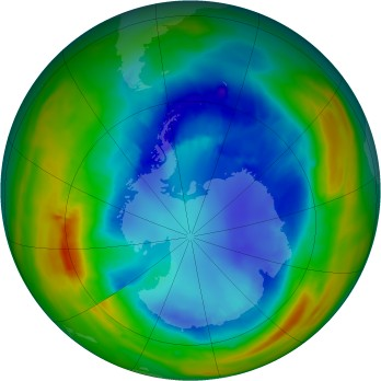 Antarctic ozone map for 2014-08-26