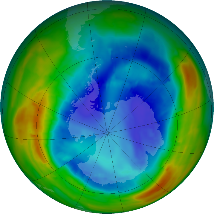 Antarctic ozone map for 27 August 2014