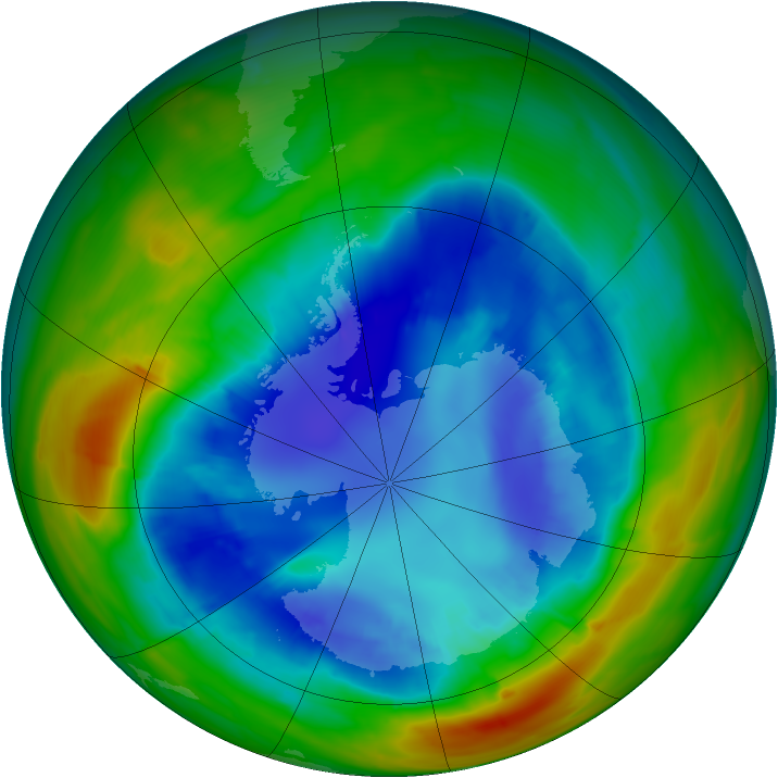 Antarctic ozone map for 29 August 2014