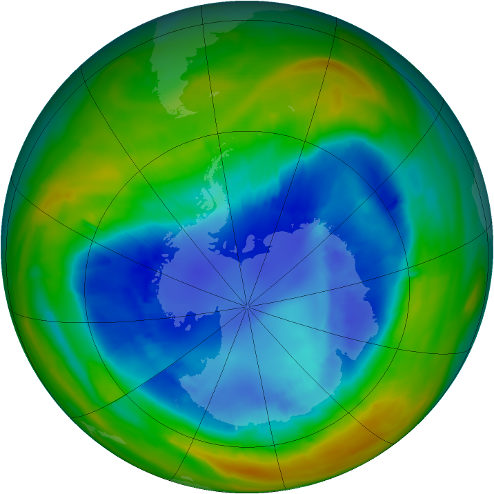 Antarctic ozone map for 31 August 2014