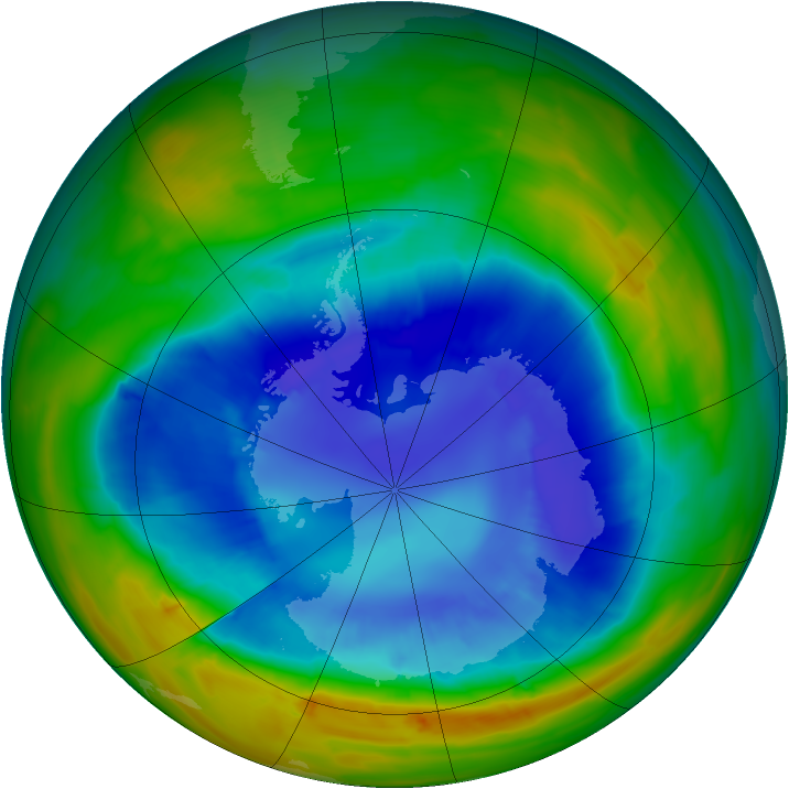 Antarctic ozone map for 03 September 2014