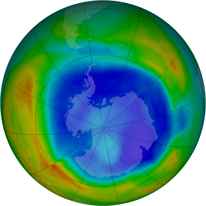 Antarctic ozone map for 05 September 2014