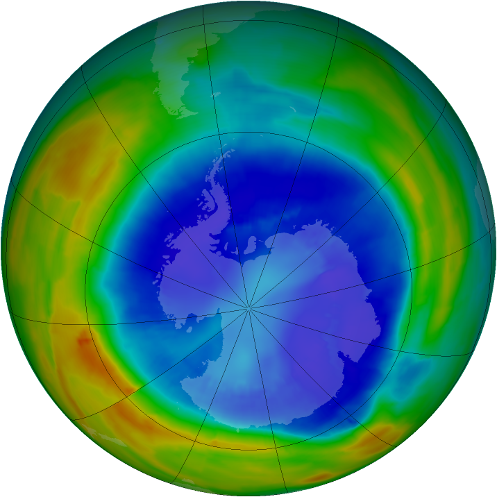 Antarctic ozone map for 06 September 2014