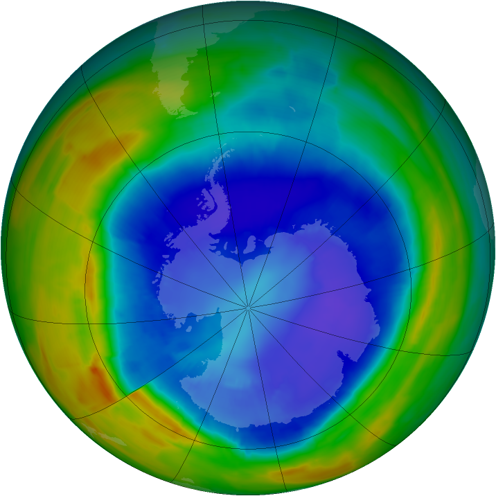 Antarctic ozone map for 07 September 2014