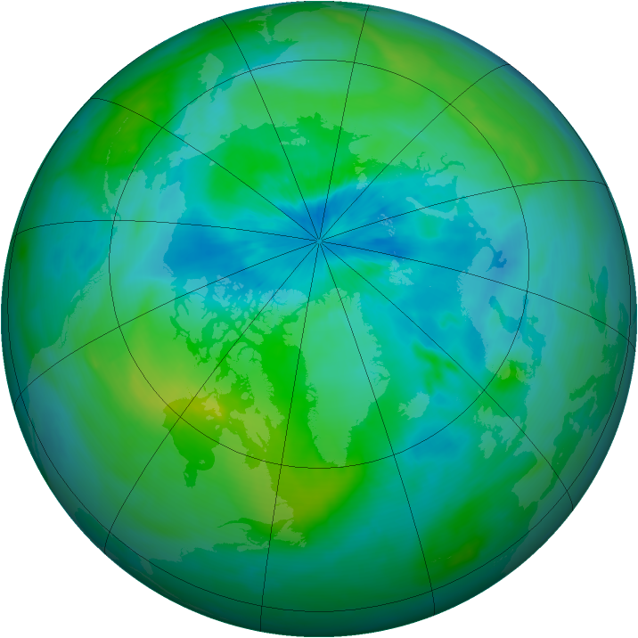 Arctic ozone map for 08 September 2014