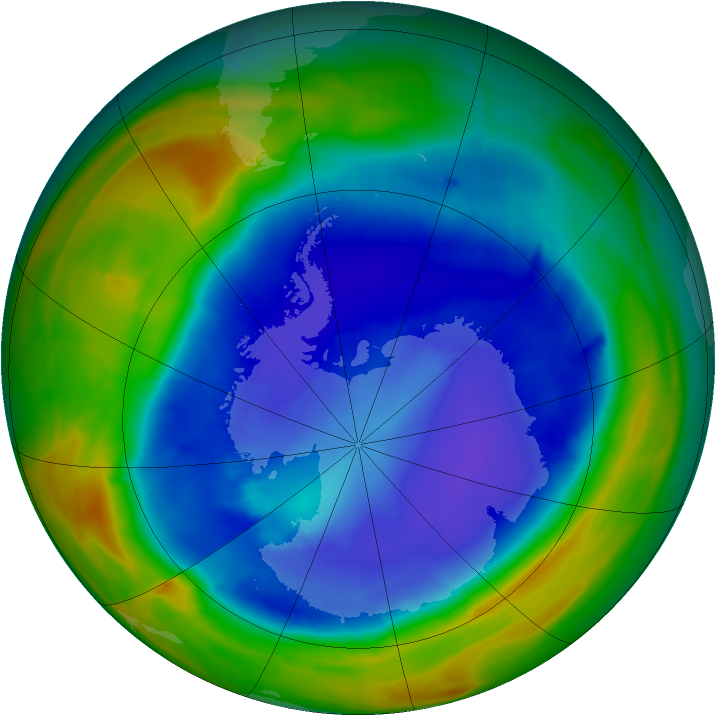 Antarctic ozone map for 08 September 2014
