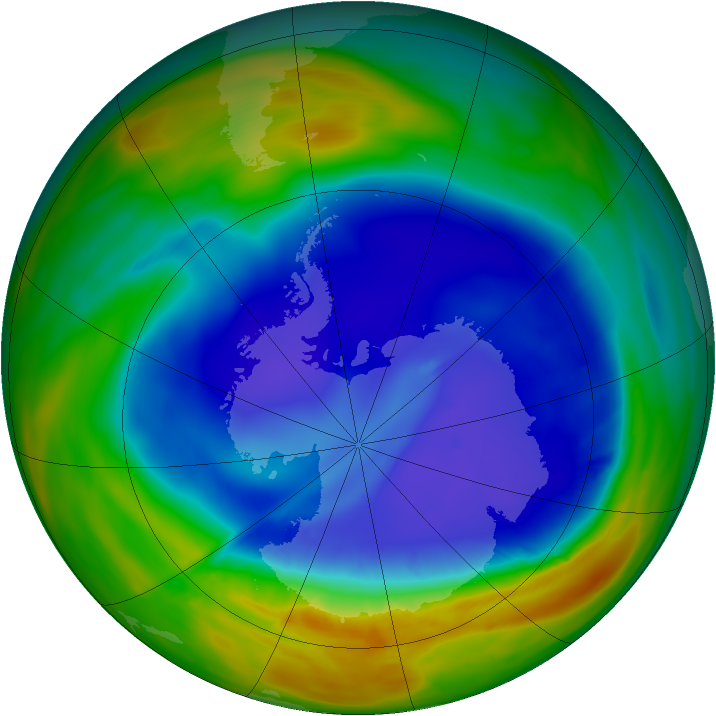 Antarctic ozone map for 10 September 2014