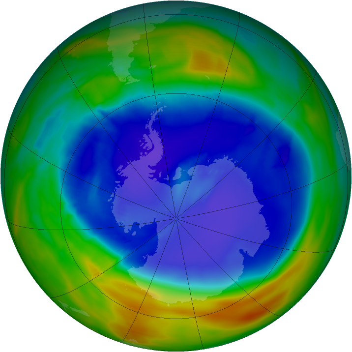 Antarctic ozone map for 11 September 2014