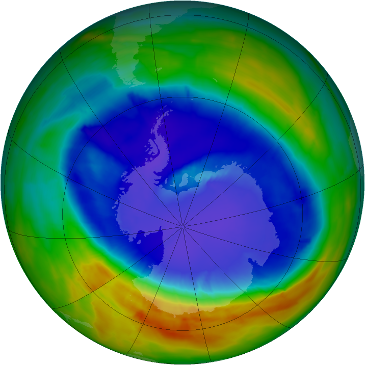 Antarctic ozone map for 12 September 2014