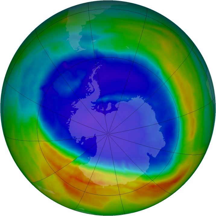 Antarctic ozone map for 13 September 2014