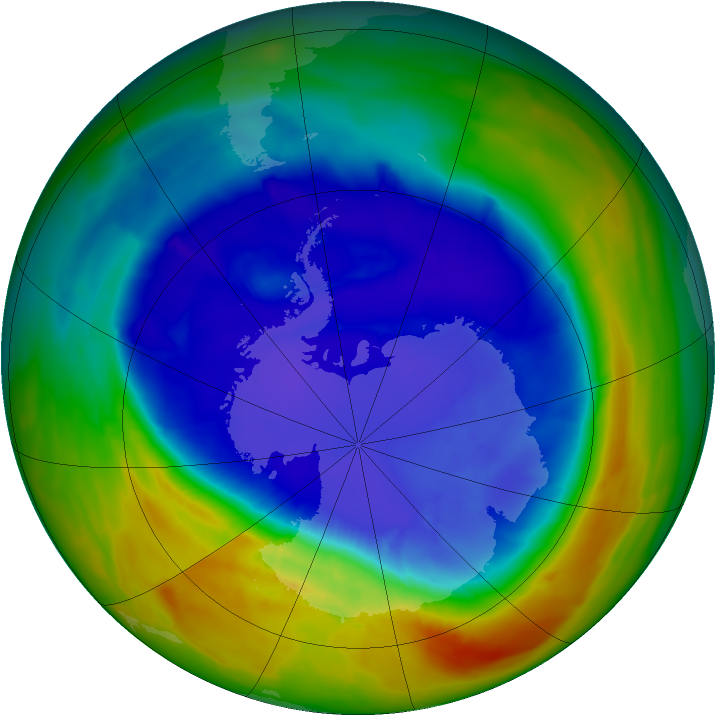 Antarctic ozone map for 14 September 2014