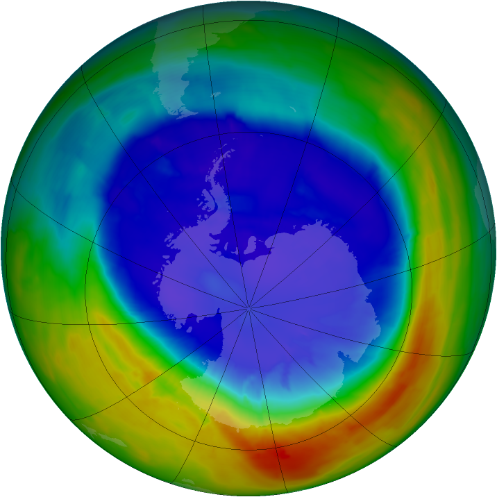 Antarctic ozone map for 15 September 2014