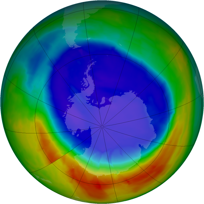 Antarctic ozone map for 16 September 2014