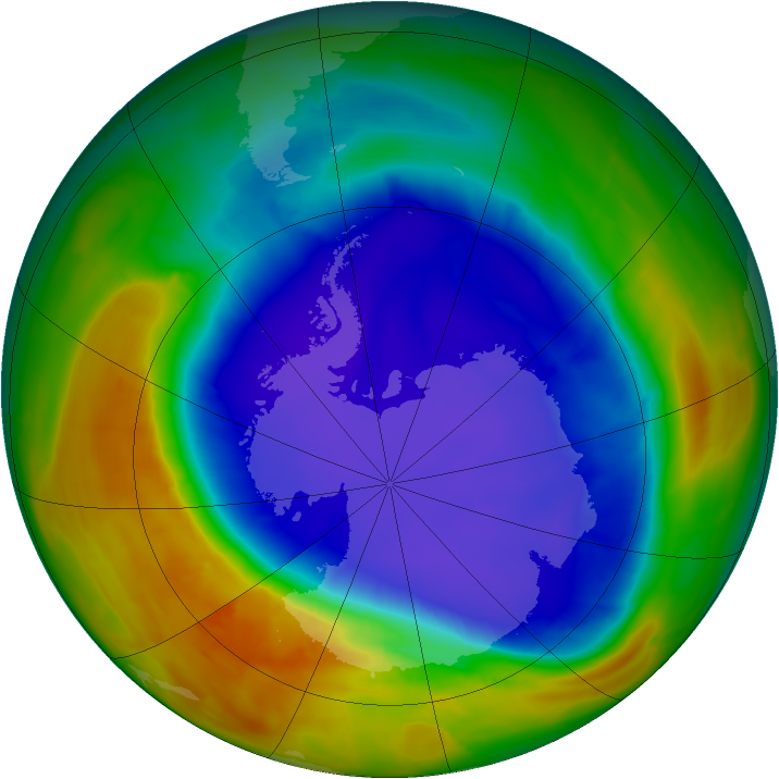 Antarctic ozone map for 19 September 2014