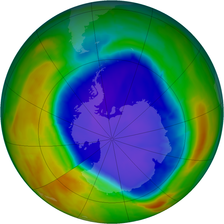 Antarctic ozone map for 20 September 2014