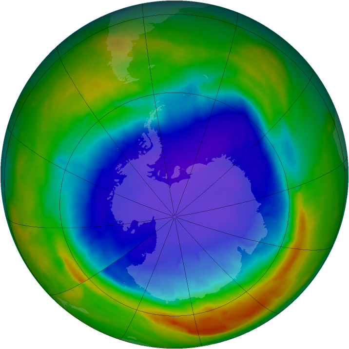 Antarctic ozone map for 23 September 2014