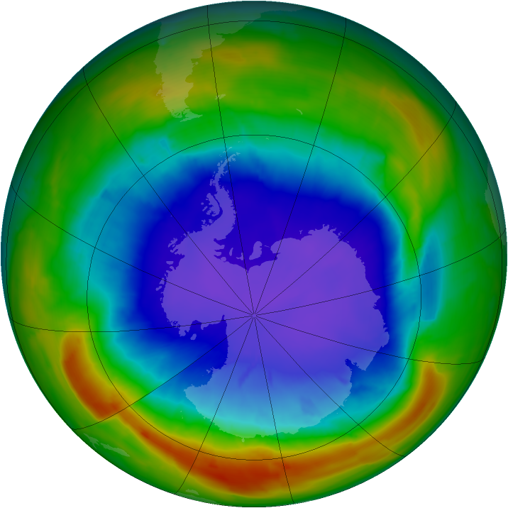 Antarctic ozone map for 24 September 2014