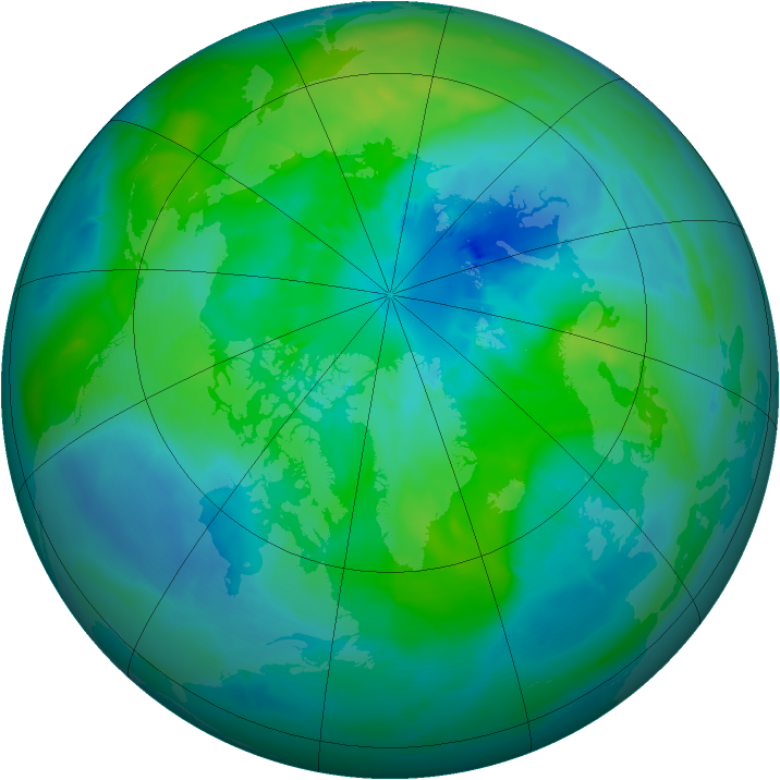 Arctic ozone map for 25 September 2014
