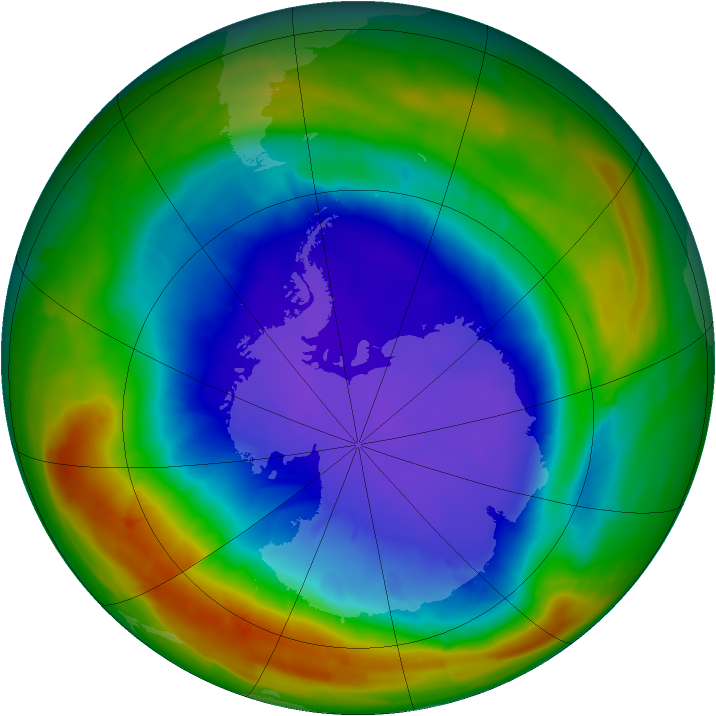 Antarctic ozone map for 25 September 2014