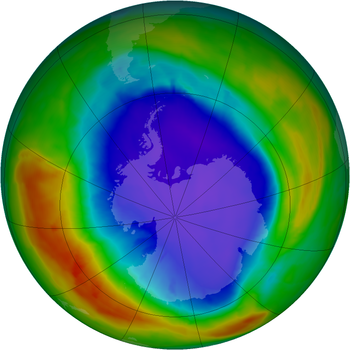 Antarctic ozone map for 26 September 2014
