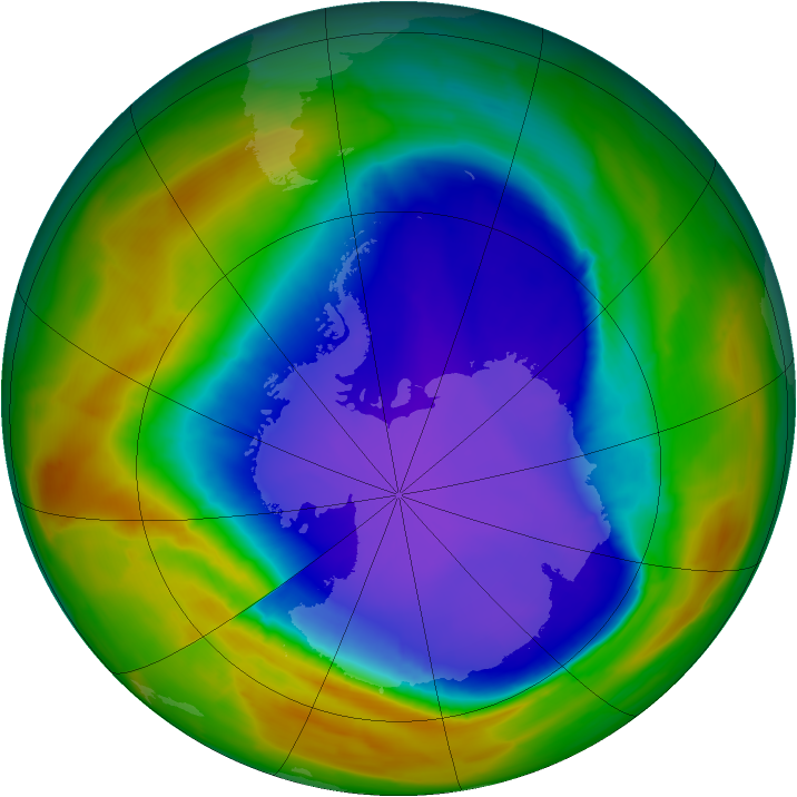 Antarctic ozone map for 29 September 2014