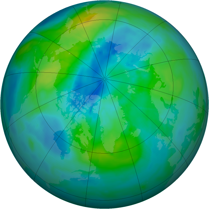 Arctic ozone map for 30 September 2014