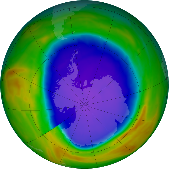 Antarctic ozone map for 01 October 2014