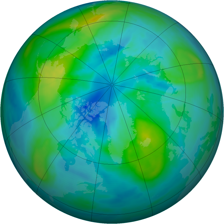 Arctic ozone map for 03 October 2014