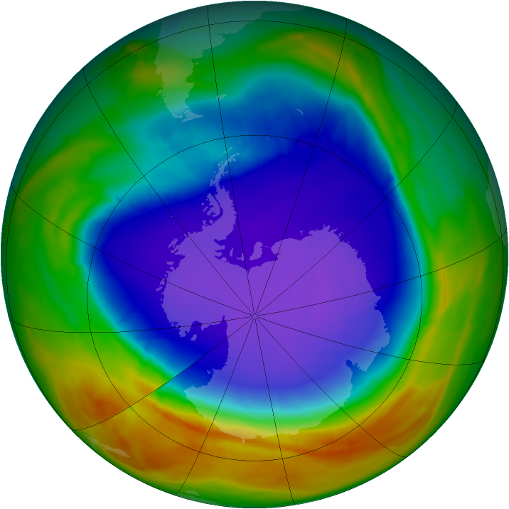 Antarctic ozone map for 03 October 2014