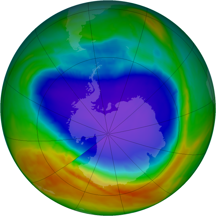 Antarctic ozone map for 04 October 2014
