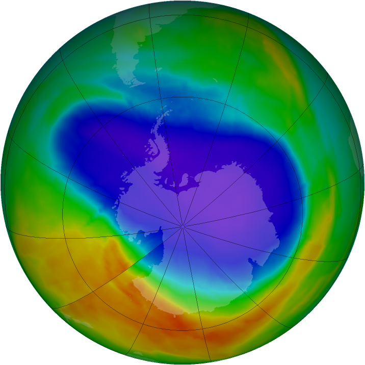 Antarctic ozone map for 05 October 2014