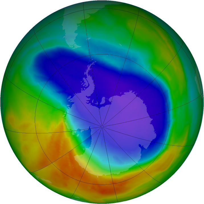 Antarctic ozone map for 06 October 2014