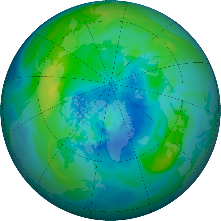 Arctic ozone map for 08 October 2014
