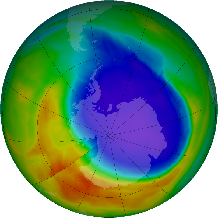 Antarctic ozone map for 08 October 2014