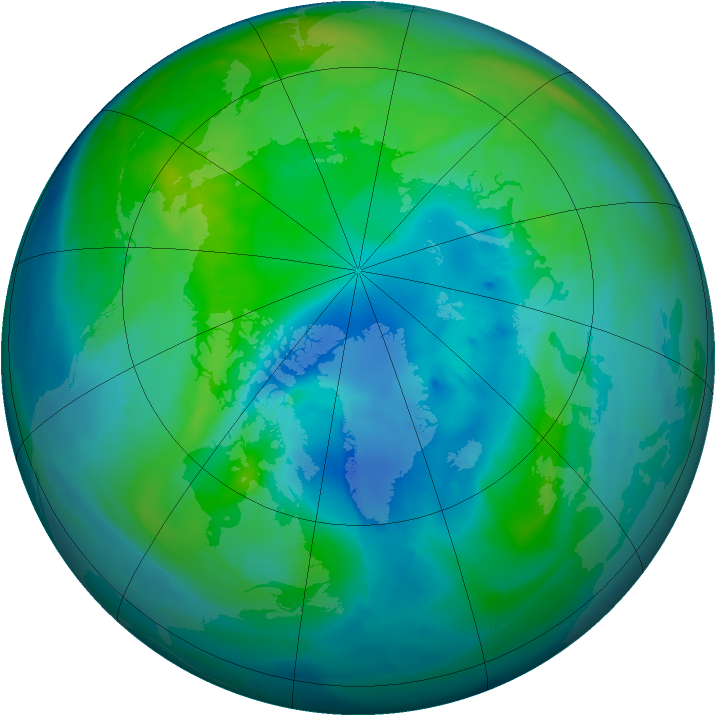 Arctic ozone map for 10 October 2014