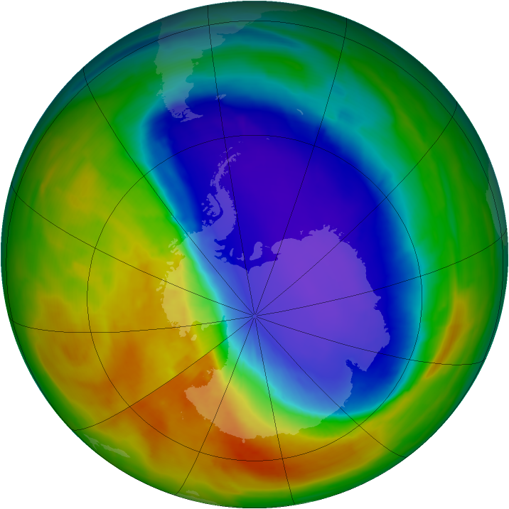 Antarctic ozone map for 10 October 2014