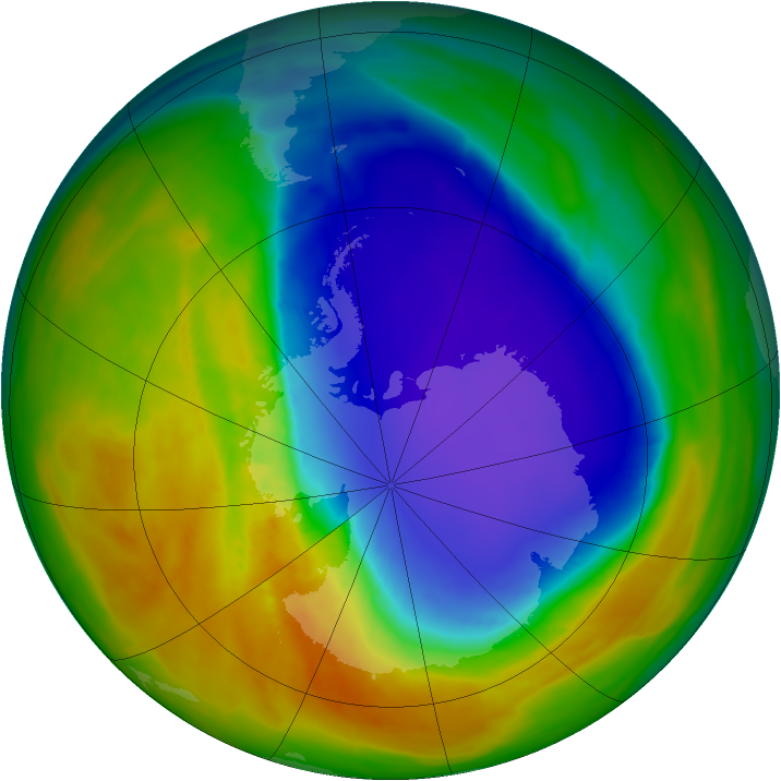 Antarctic ozone map for 11 October 2014