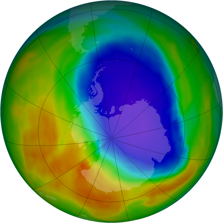 Antarctic ozone map for 12 October 2014