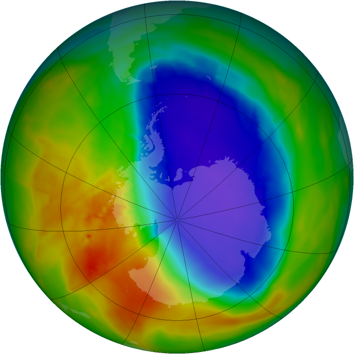 Antarctic ozone map for 13 October 2014