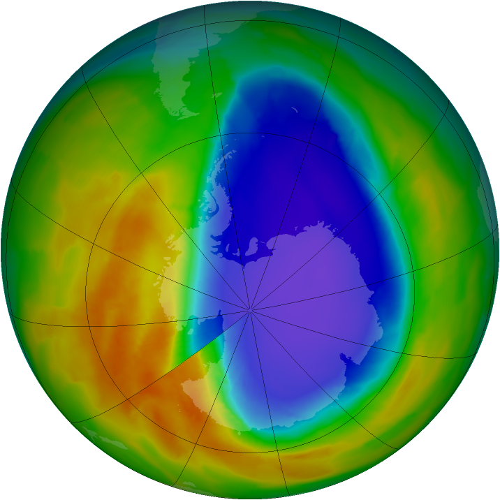 Antarctic ozone map for 14 October 2014