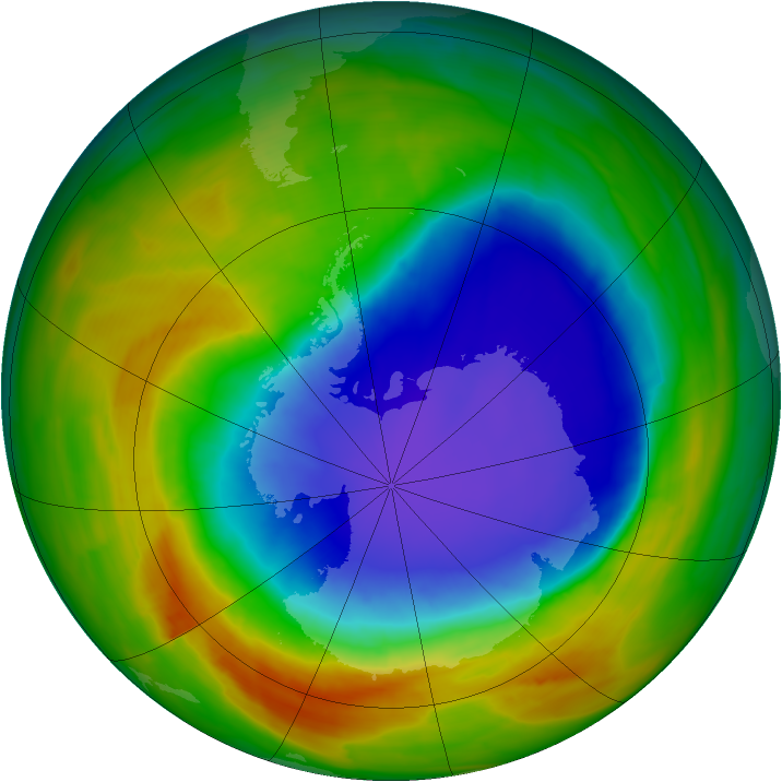 Antarctic ozone map for 19 October 2014