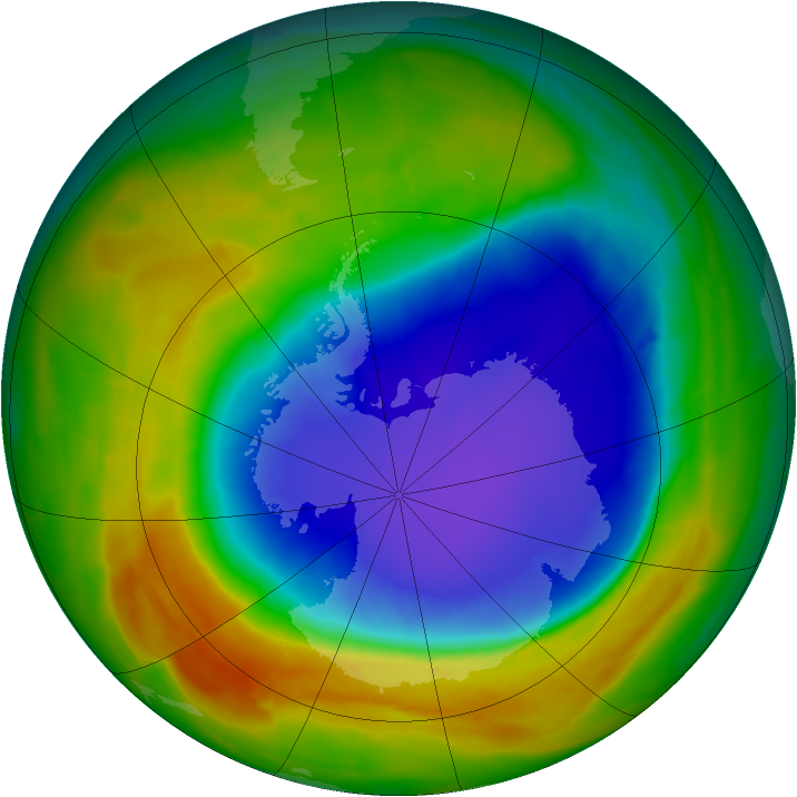 Antarctic ozone map for 20 October 2014
