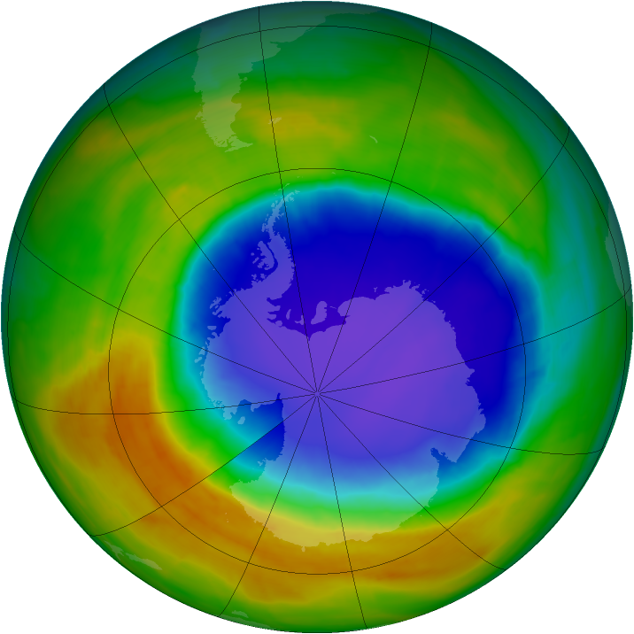 Antarctic ozone map for 22 October 2014