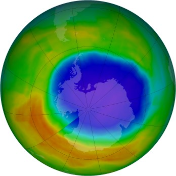 Antarctic ozone map for 2014-10-22