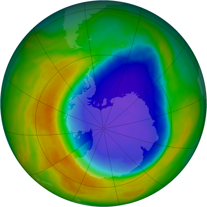 Antarctic ozone map for 25 October 2014